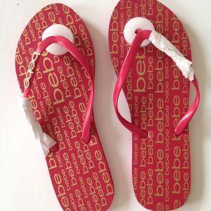 bebe Samirah Logo Red Flip Flops Size 10